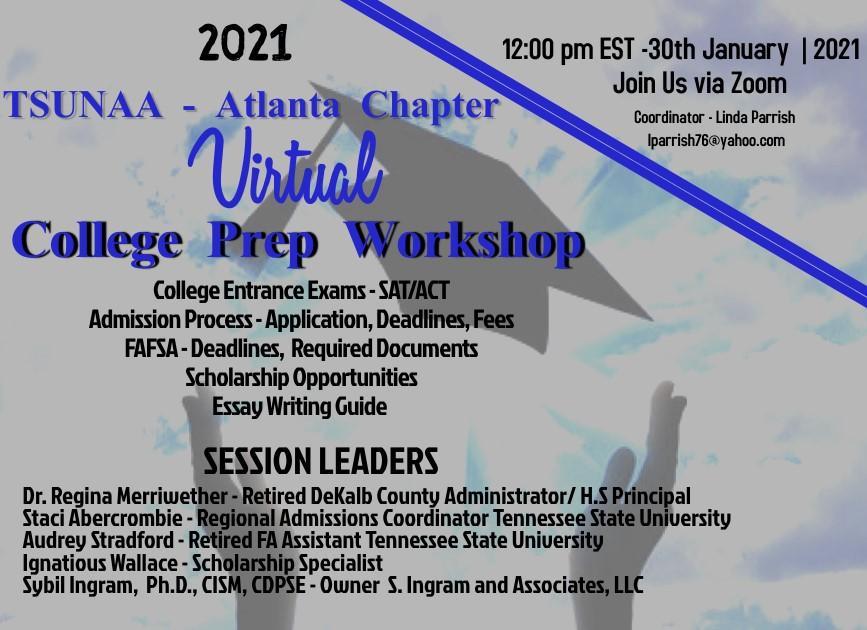 Virtual College Prep Workshop @ Virtual Zoom Meeting